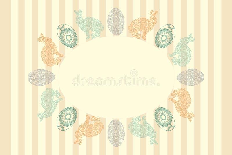 Kort för hälsning för påskhand utdraget med den ornated ägg och kaninramen vektor illustrationer