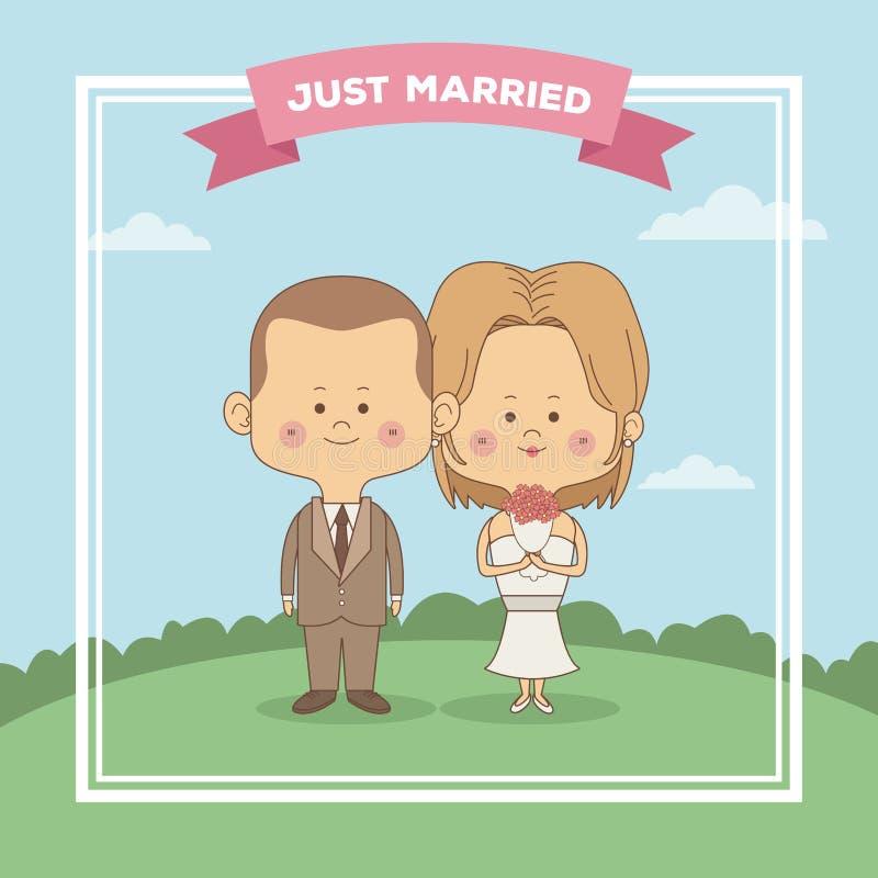 Kort för hälsning för plats för färghimmellandskap av precis gift parbruden med den blonded hår och brudgummen med frisyr royaltyfri illustrationer