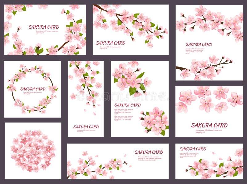 Kort för hälsning för Sakura vektorblomning blommar körsbärsröda med rosa blomma för vår illustrationjapanuppsättningen av bröllo stock illustrationer