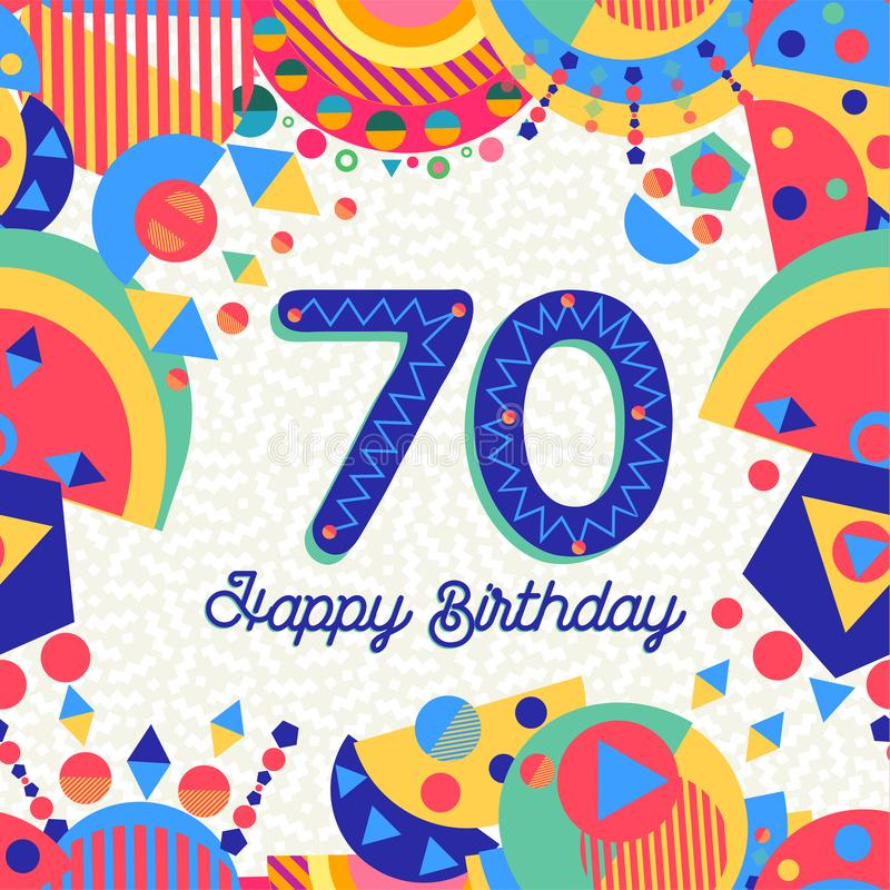 70 kort för hälsning för sjuttio år födelsedagparti royaltyfri illustrationer