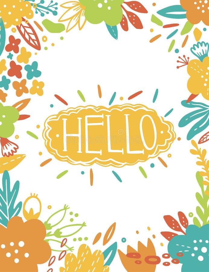 Kort för hälsning för sommartappning blom- med trädgårds- blommor Abstrakt gränsvykort Text Hello romantisk stil royaltyfri illustrationer