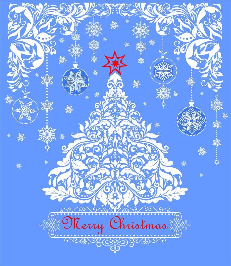 Kort för hälsning för tappningjul blått pastellfärgat med trädet för xmas för pappers- klipp det blom- vita, snöflingor och hänga stock illustrationer