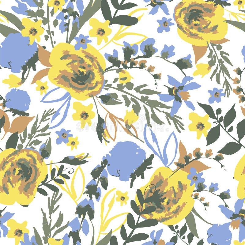 Kort för hälsning för tappningvektor blom- med vildblommor vektor illustrationer