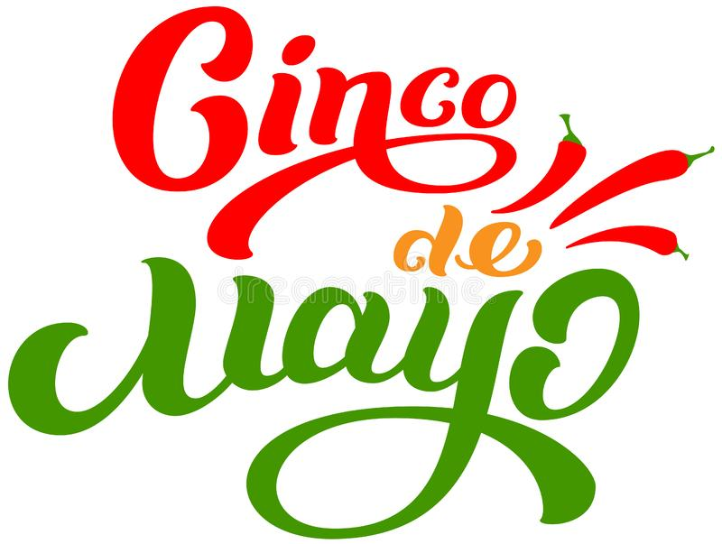 Kort för hälsning för text för Cinco de Mayo mexikanskt feriebokstäver royaltyfri illustrationer