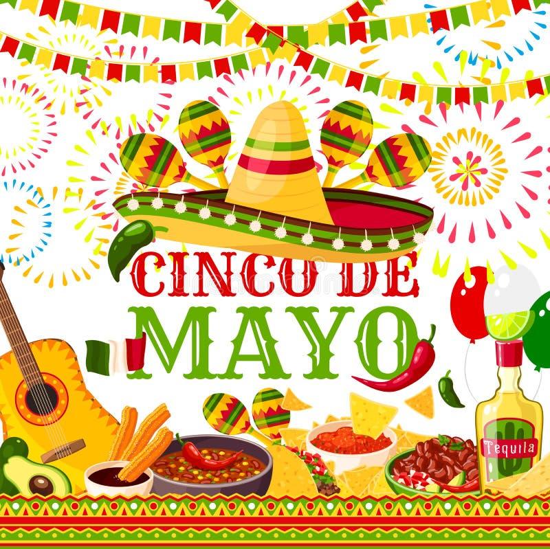 Kort för hälsning för vektor för Cinco de Mayo fiesta mexicanskt stock illustrationer
