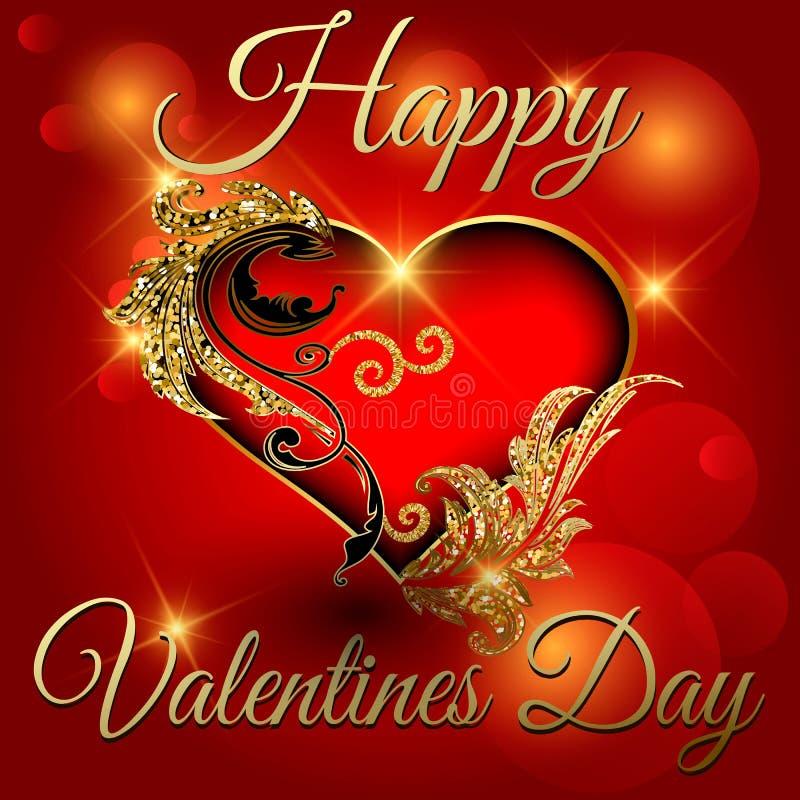 Kort för hälsning för vektor för dag för valentin 3d för barock stil för tappning dekorativt Ljust rött dekorativt utsmyckat glöd stock illustrationer
