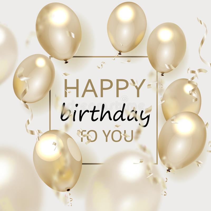Kort för hälsning för vektorfödelsedag elegant med guld- ballonger och fallande konfettier royaltyfri illustrationer
