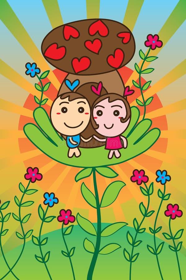 Kort för hus för förälskelse för förälskelsemaskotchampinjon gulligt stock illustrationer