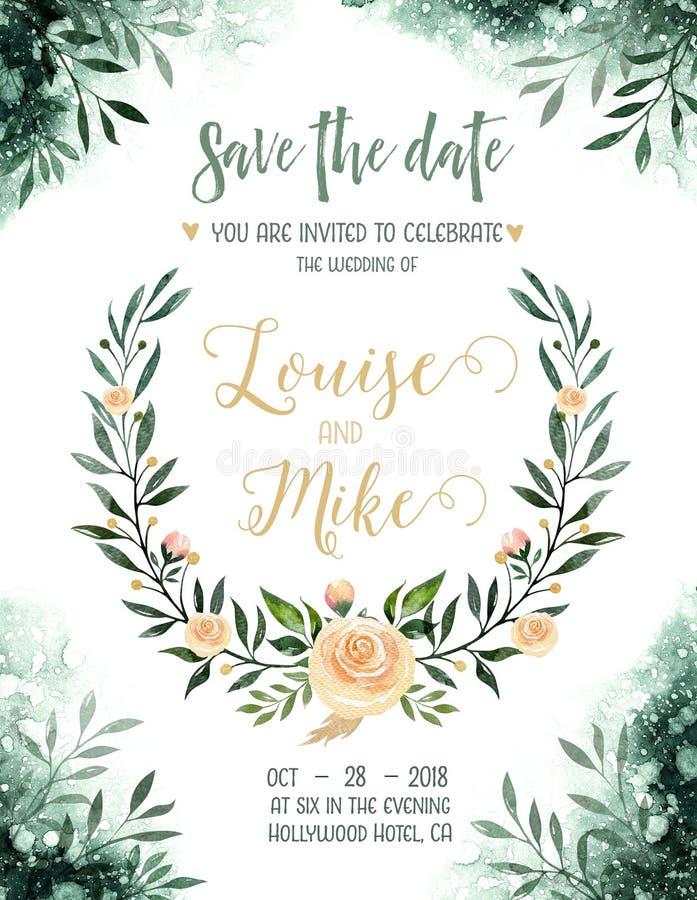 Kort för inbjudan för bröllop för vattenfärggrönskafärg med gröna och guld- beståndsdelar pappers- textur med blom- och sidor royaltyfri illustrationer