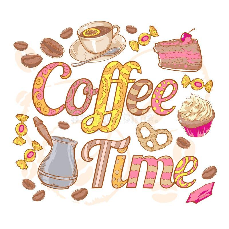 Kort för inbjudan för kaffetid färgrikt med virveln fo stock illustrationer