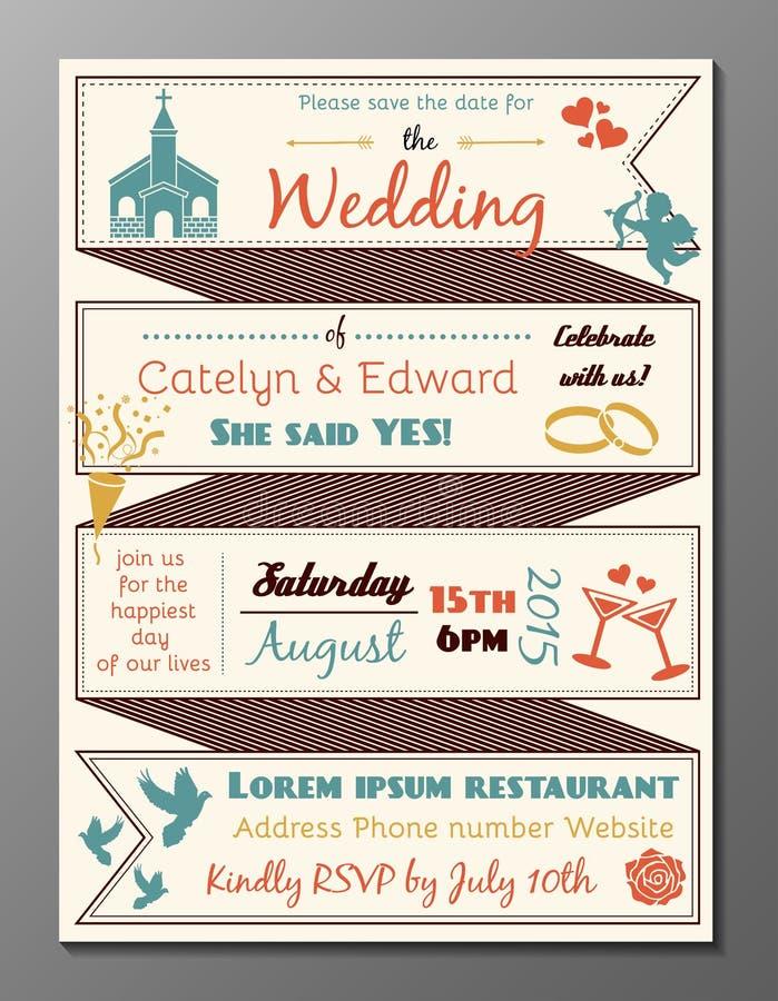 Kort för inbjudan för tappningbröllopparti vektor illustrationer