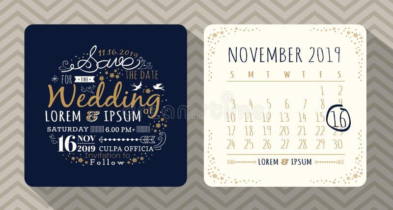 Kort för inbjudan för tappningtypografibröllop stock illustrationer