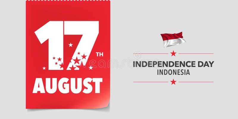 Kort för Indonesien lyckligt självständighetsdagenhälsning, baner, vektorillustration royaltyfri illustrationer
