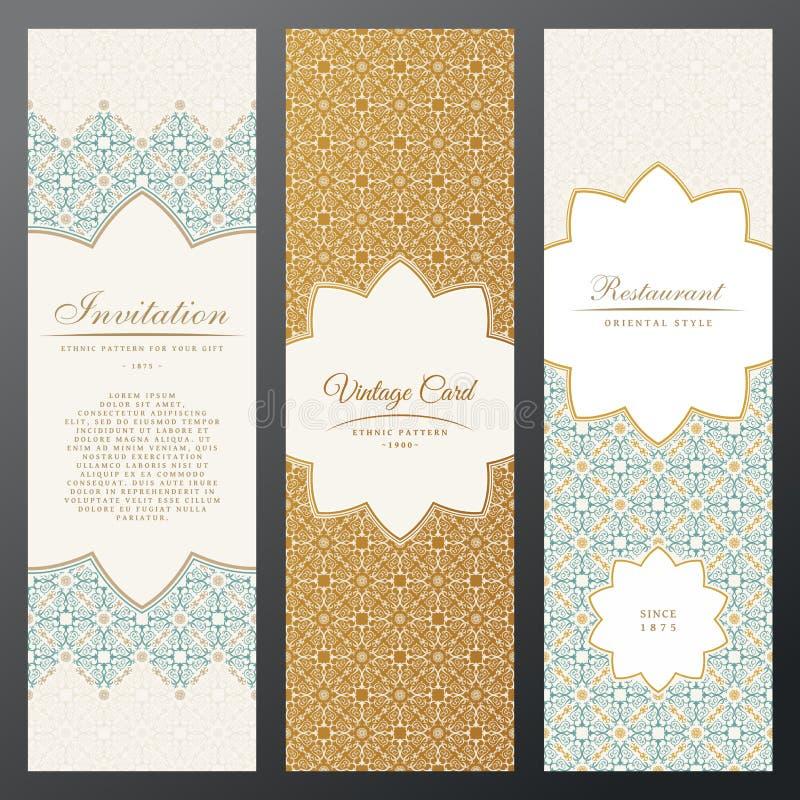 Kort för islamtappninglyx Vektoruppsättning av utsmyckat i etnisk design Guldetiketter med stället för text Östlig blom- ram vektor illustrationer