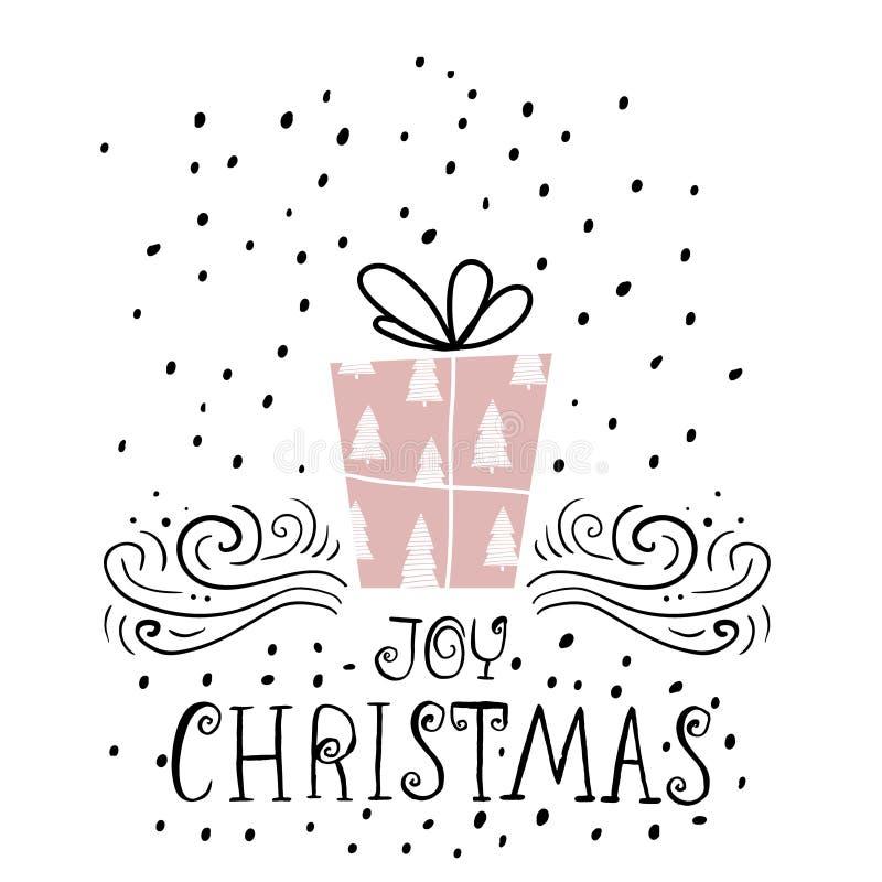 Kort för Joy Christmas moderiktigt designhälsning Ferievintermall med handskriven bokstäver Bakgrund för mass x med gåvan vektor illustrationer