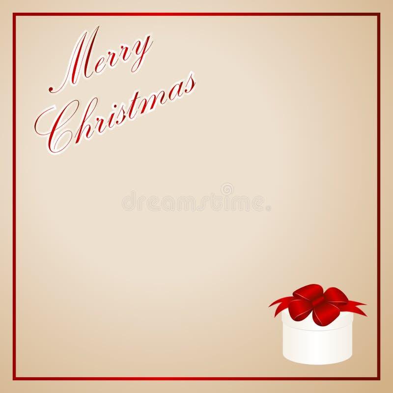 Kort för jul inbjudan, hälsning- eller gåva Röd ram med gåvaasken med den röda pilbågen stock illustrationer