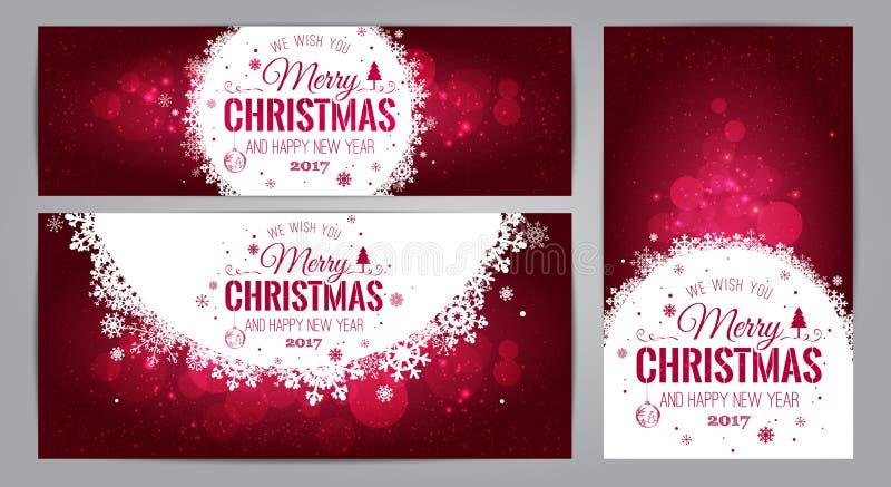 Kort för jul och för nytt år med typografisk på skinande Xmas-bakgrund också vektor för coreldrawillustration Uppsättning av Xmas stock illustrationer