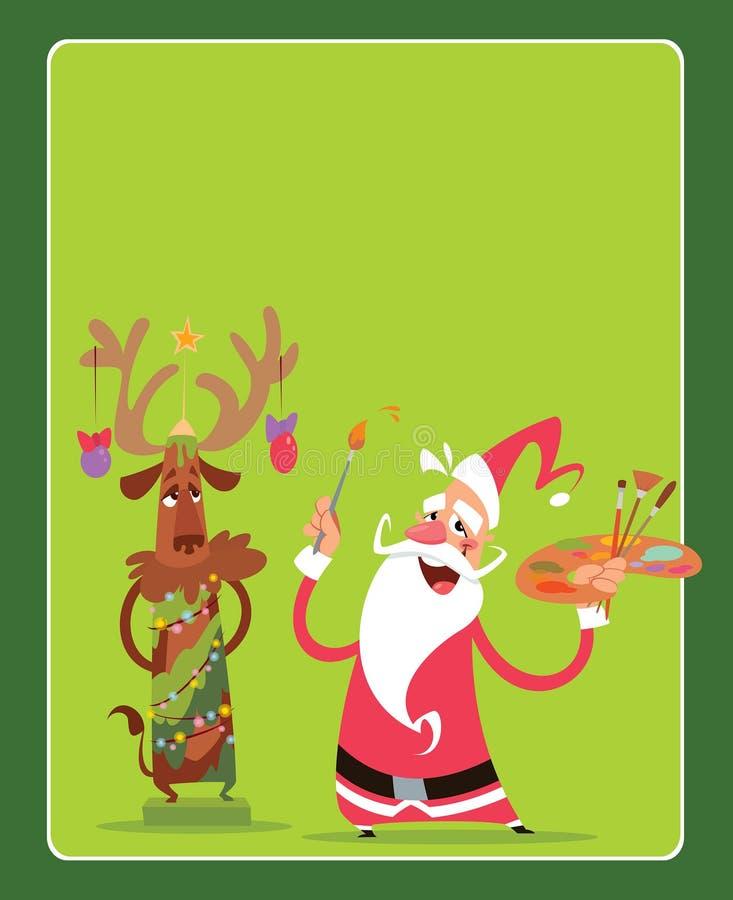 Kort för julbegreppshälsning med Santa Claus och renen ch royaltyfri illustrationer