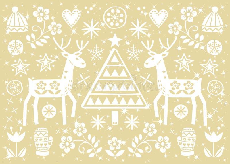Kort för julfolkkonsthälsning med renen, blommor, Xmas-trädet och vinterklädermodellen i vit på glad guld- bakgrund - vektor illustrationer