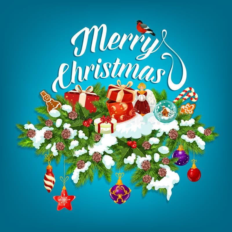Kort för julgirlandhälsning med gåvan för nytt år royaltyfri illustrationer