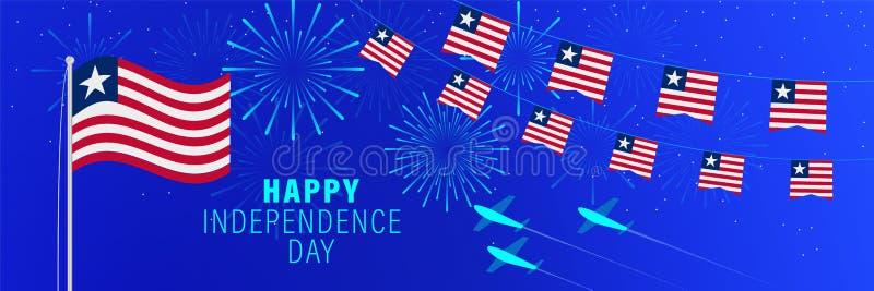 Kortför Juli 26 Liberia självständighetsdagenhälsning Berömbakgrund med fyrverkerier, flaggor, flaggstången och text royaltyfria bilder