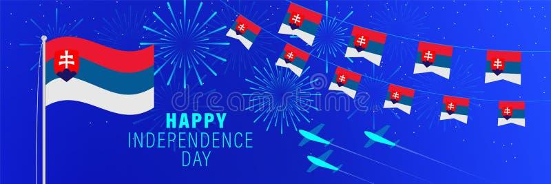 Kortför Juli 17 Slovakien självständighetsdagenhälsning Berömbakgrund med fyrverkerier, flaggor, flaggstången och text vektor illustrationer