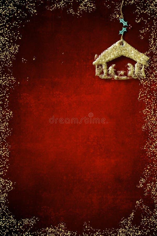 Kort för juljulkrubbahälsningar royaltyfri bild
