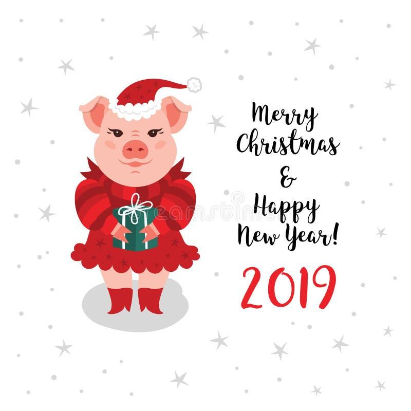 Kort för julsvinhälsning, kort för lyckligt nytt år 2019 för glad jul Ett tecknad filmsvin i en röd Santa Claus hatt rymmer a stock illustrationer