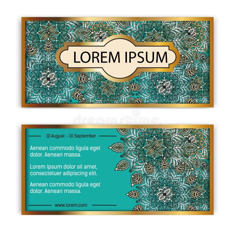 Kort för kort för gåva för vektormalltappning Blom- mandalamodellbakgrund Nationell designorientering Islam arabiska, indier vektor illustrationer
