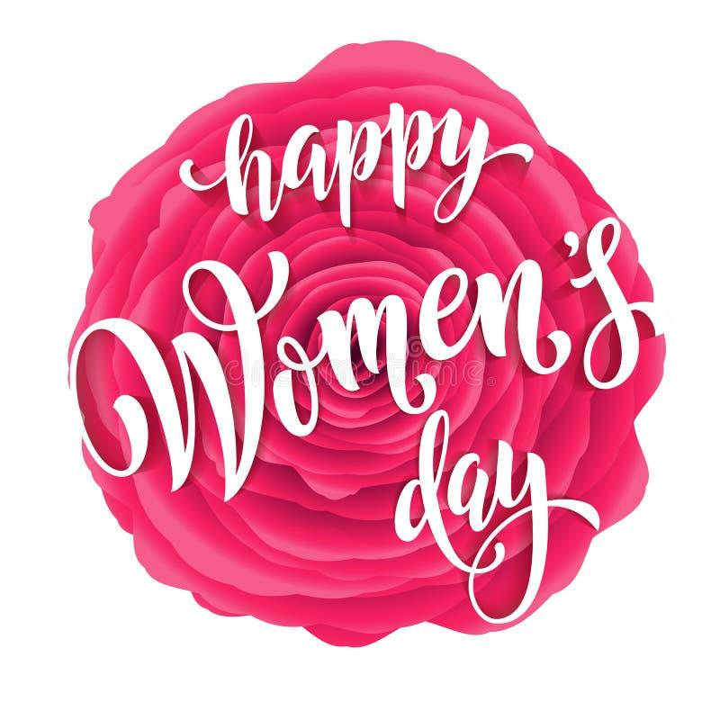 Kort för kvinnadaghälsning av röd bakgrund för rosblommamodell stock illustrationer