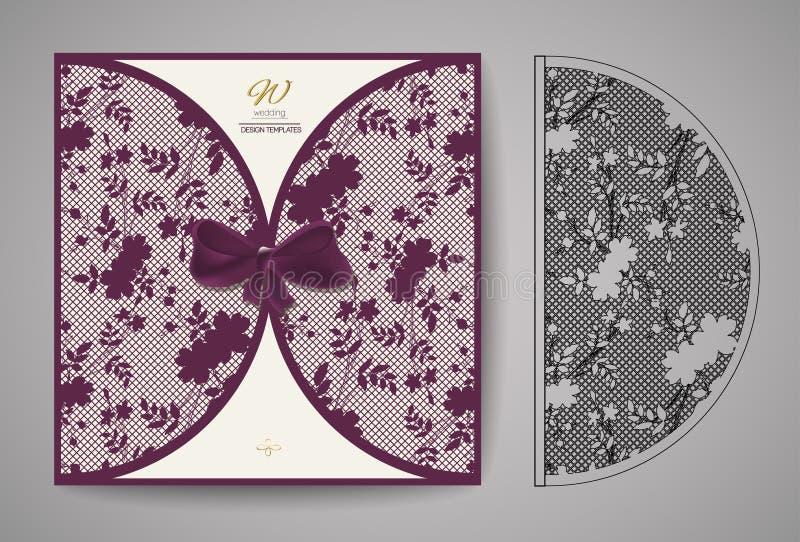 Kort för laser-snittinbjudan Laser-klippmodell för inbjudanbröllopkort vektor royaltyfri illustrationer