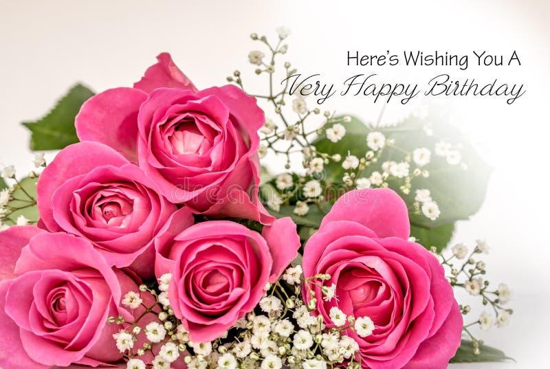 Kort för lycklig födelsedag för rosor royaltyfri bild