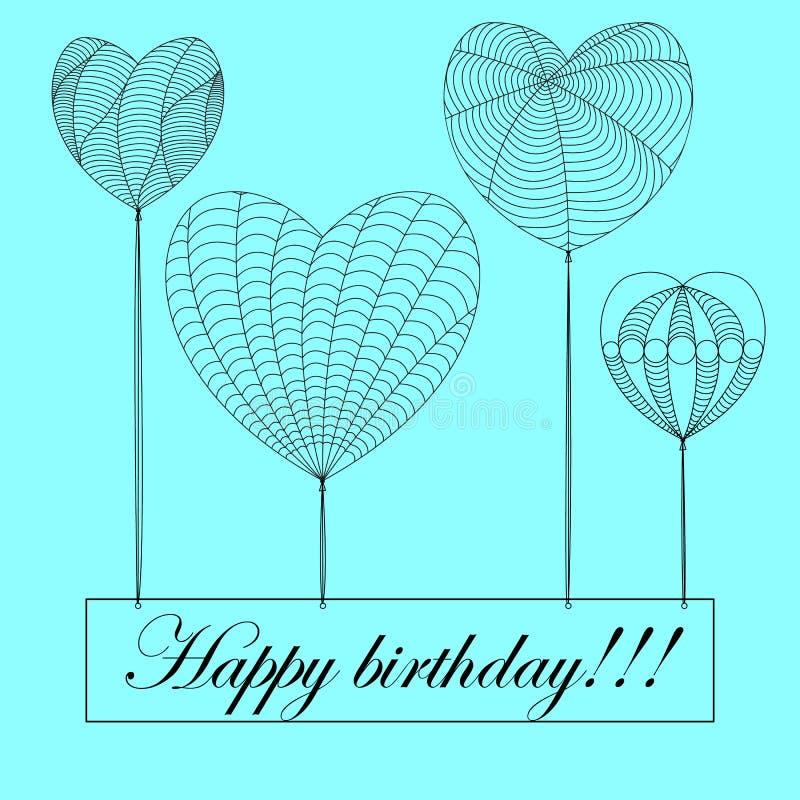 Kort för lycklig födelsedag i zenartstil, hjärtor på blå bakgrund w royaltyfri illustrationer