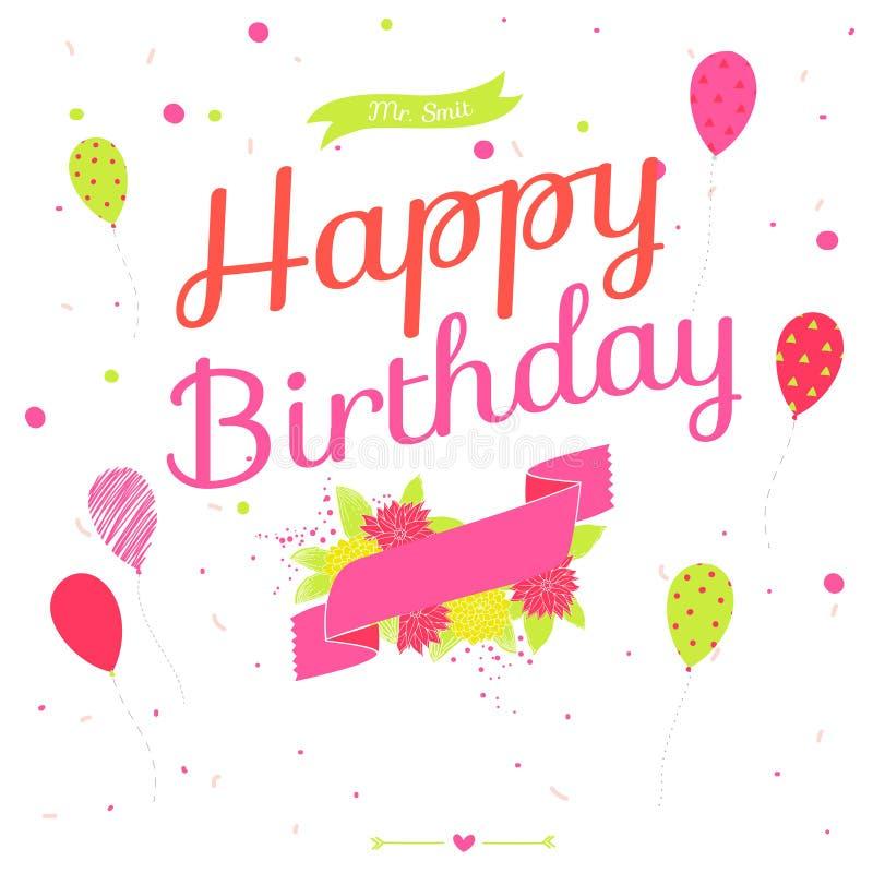 Kort för lycklig födelsedag med blommor, ballonger och band royaltyfri illustrationer