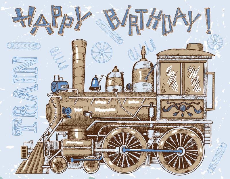 Kort för lycklig födelsedag med den gamla lokomotivet på blått stock illustrationer