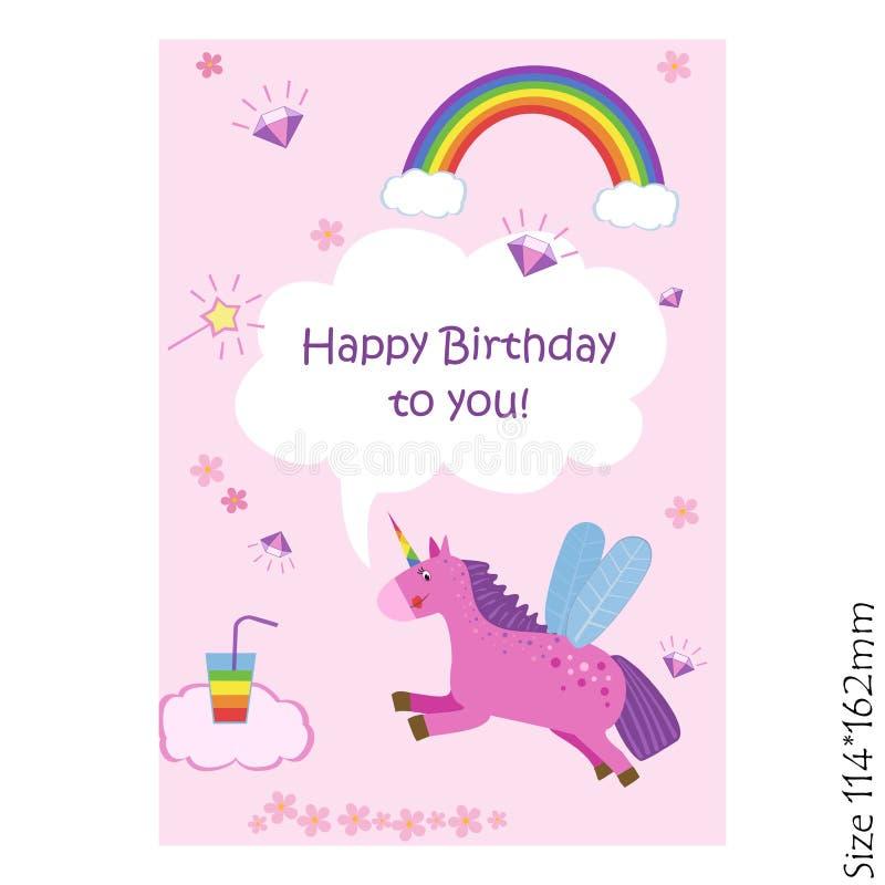 Kort för lycklig födelsedag med en magisk enhörning på en rosa bakgrund vektor illustrationer