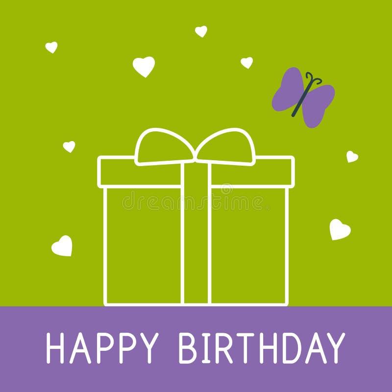 Kort för lycklig födelsedag med gåva och fjärilen stock illustrationer