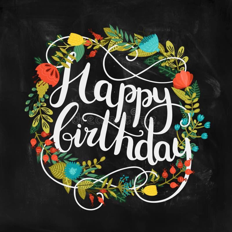 Kort för lycklig födelsedag med hand dragen bokstäver vektor illustrationer