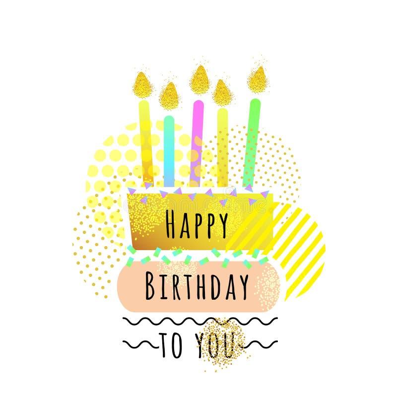 Kort för lycklig födelsedag med kakan och stearinljus gulligt önskakort också vektor för coreldrawillustration stock illustrationer