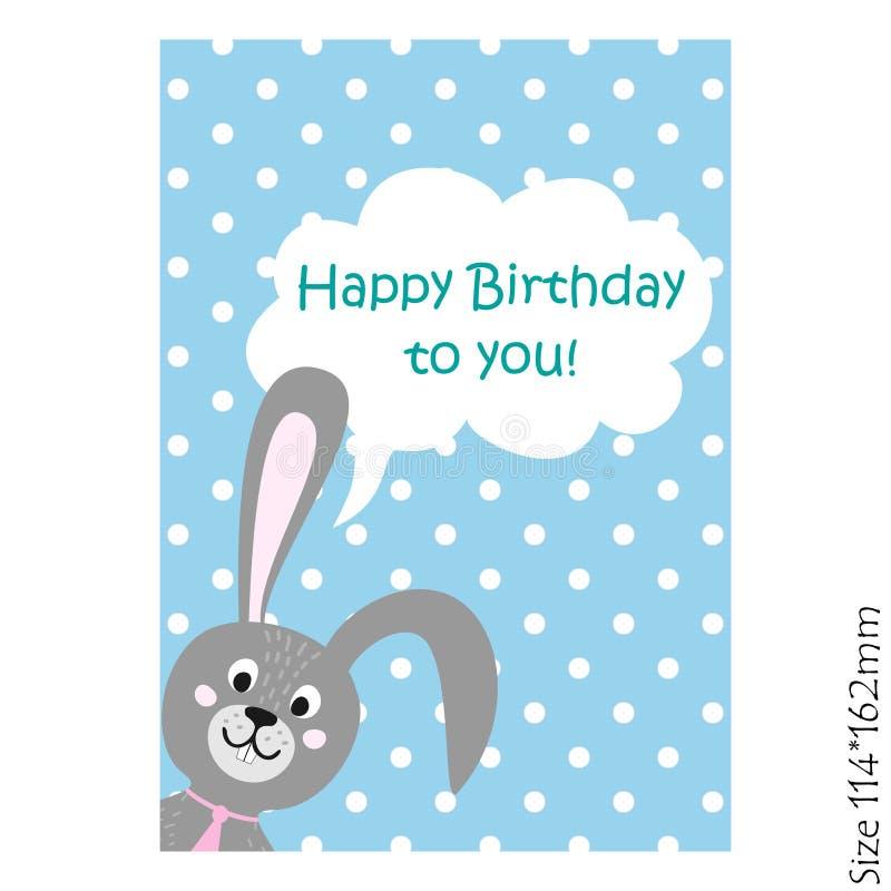 Kort för lycklig födelsedag med kaninen stock illustrationer
