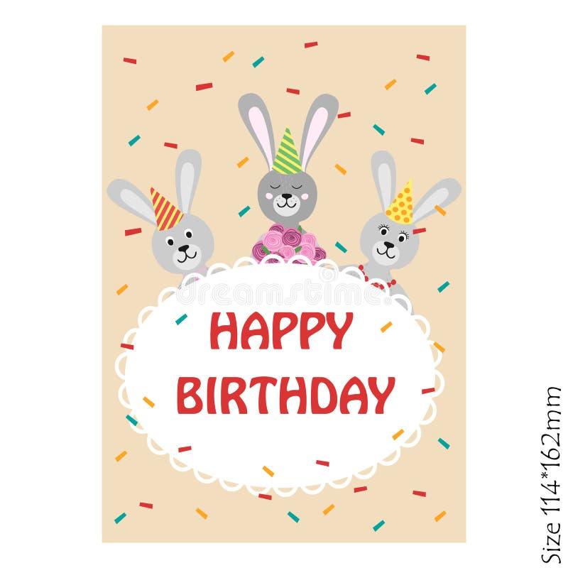 Kort för lycklig födelsedag med kaninen vektor illustrationer
