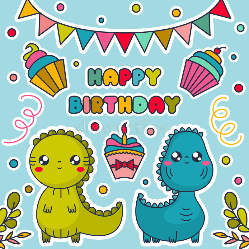 Kort för lycklig födelsedag med Kawaii dinosaurier, kakor, bunting flaggor och konfettier vektor illustrationer