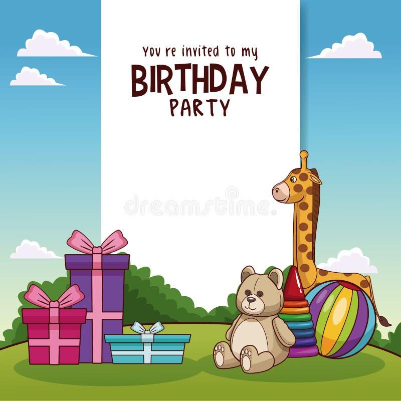Kort för lycklig födelsedag med leksaker och gåvor royaltyfri illustrationer