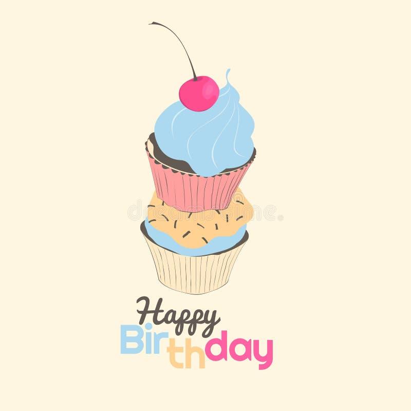 Kort för lycklig födelsedag med muffin vektor illustrationer