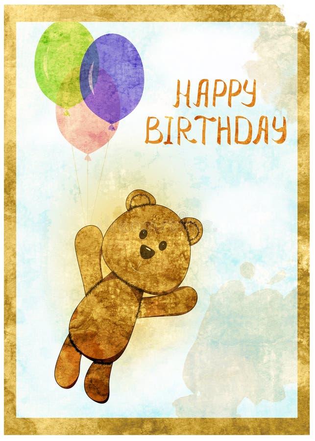 Kort för lycklig födelsedag med rolig björngrungestil royaltyfri illustrationer