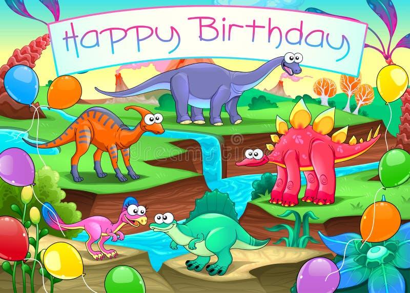 Kort för lycklig födelsedag med roliga dinosaurier royaltyfri illustrationer