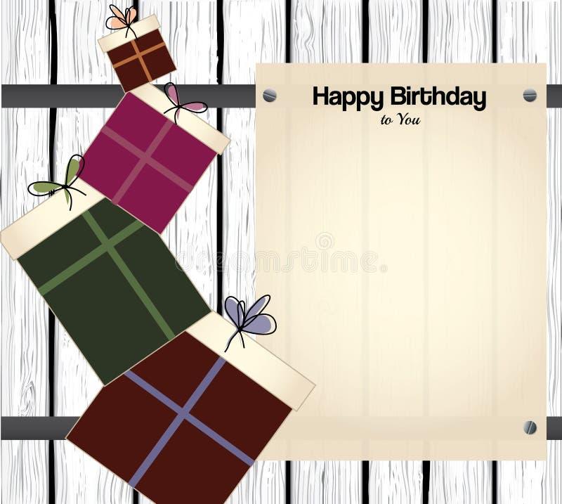 Kort för lycklig födelsedag med tomt papper för text royaltyfri illustrationer