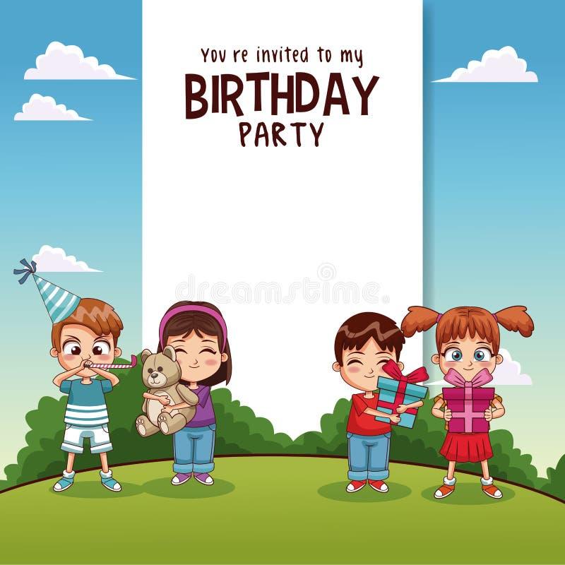 Kort för lycklig födelsedag med ungar och gåvor stock illustrationer