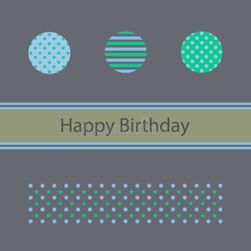Kort för lycklig födelsedag, minimalist design royaltyfri illustrationer