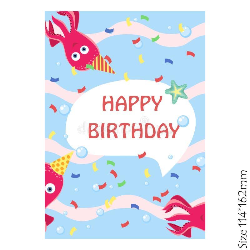 Kort för lycklig födelsedag för ungar Festlig bläckfisk som är gullig och royaltyfri illustrationer
